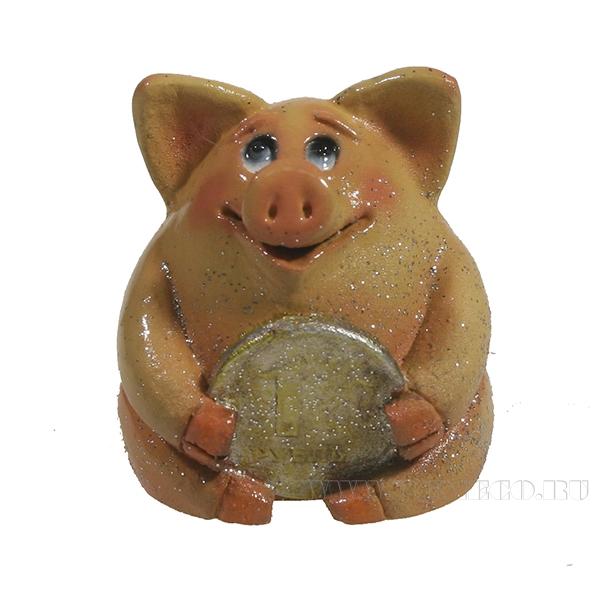 Фигура декоративная Свинка рубль бережет (розовая)L4.5W5H5 оптом