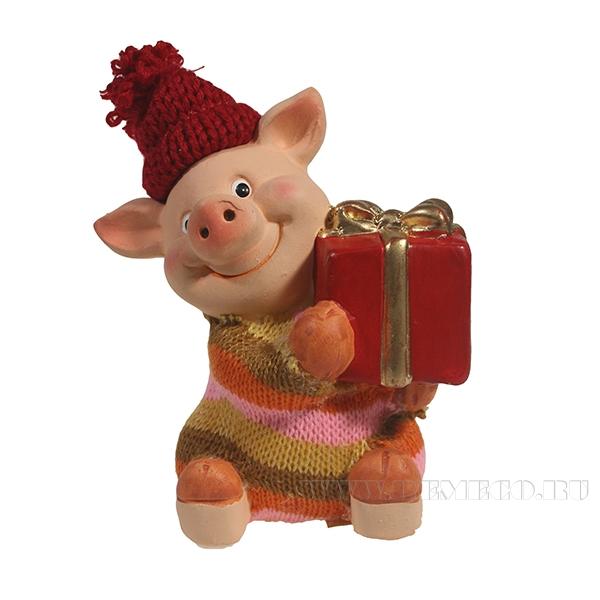 Фигура декоративная Свин Федя и подарок L6W6.5H12 оптом