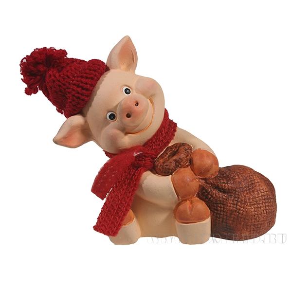 Фигура декоративная Свин Фёдор и мешок L9.57H10.5 оптом