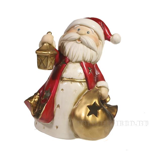 Фигурка декоративная со светодиодной подсветкой Дед Мороз с мешком L13.5W12.5H14 оптом