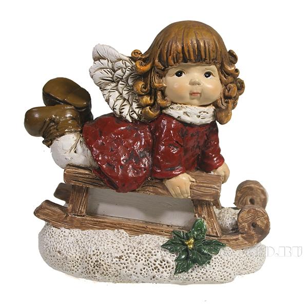 Фигура декоративная Девочка на санях (красный)L9W5.5H8,5 оптом