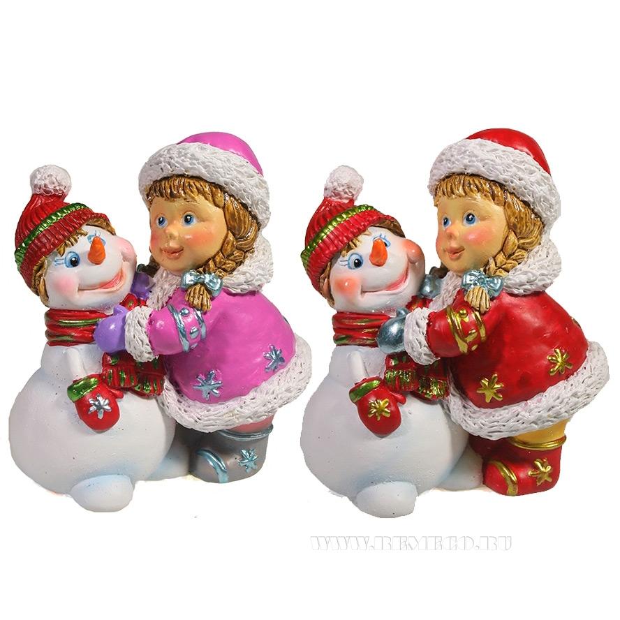 Фигура декоративная Девочка и снеговик , L8.5W5H9.5, 2в. оптом