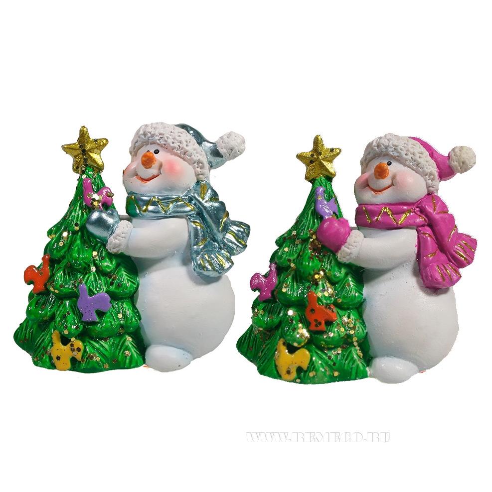 Фигура декоративная Снеговик и Елка , L6.5W4.5H6, 2в. оптом