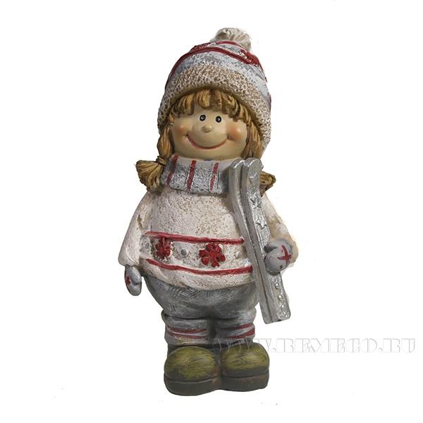 Фигура декоративная Девочка с лыжами L9W6.5H13.5 оптом