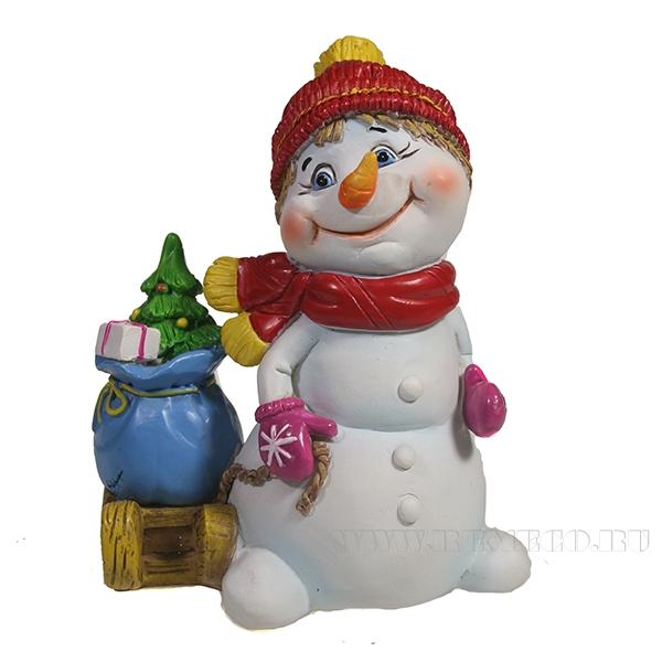 Фигура декоративная Снеговик с санями , L9W7H10.5 см оптом
