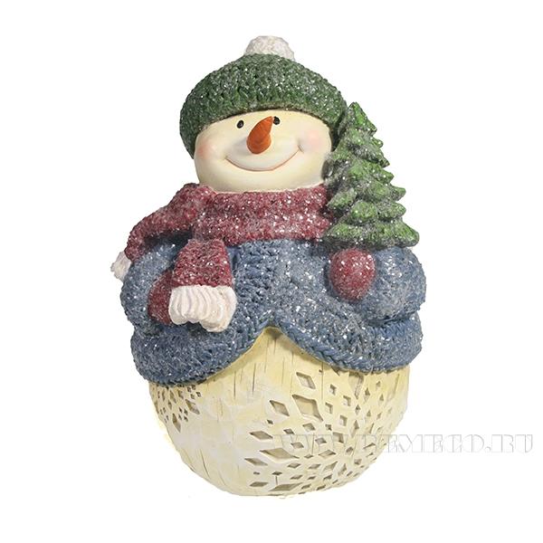 Фигура декоративная Снеговик с елкой L11.5W11H15.5 оптом