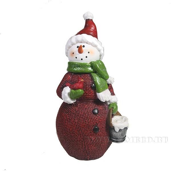 Фигура декоративная Снеговик с ведром L11W8H19 оптом
