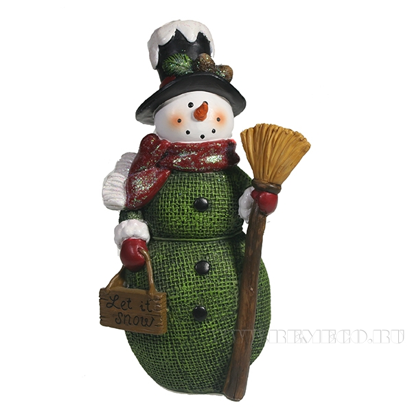 Фигура декоративная Снеговик с метлой L9.5W8.5H18 оптом