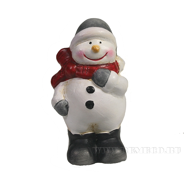 Фигура декоративная Снеговик в сером колпаке L4W4H7 оптом