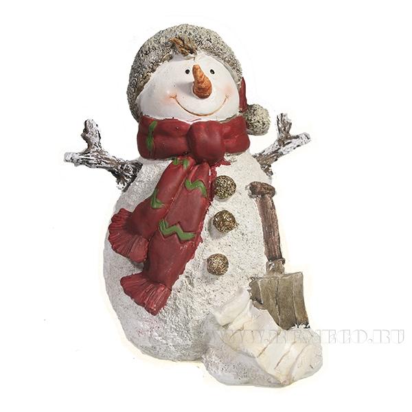 Фигура декоративная Снеговик с лопатой L14.5W12H16 оптом