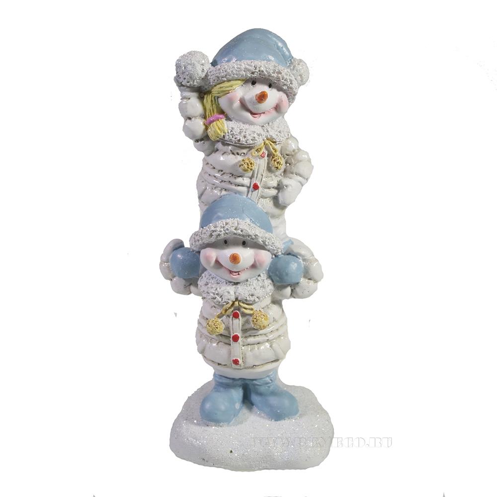 Фигура декоративная Снеговики друзья L7W6H15.5 оптом