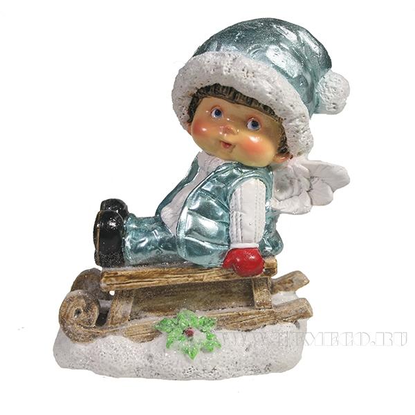 Фигура декоративная Мальчик на санях (в голубом)L9W5.5H10 оптом