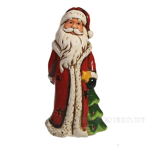 Фигура декоративная Дед Мороз с елкой L11.5W10H20.5 оптом
