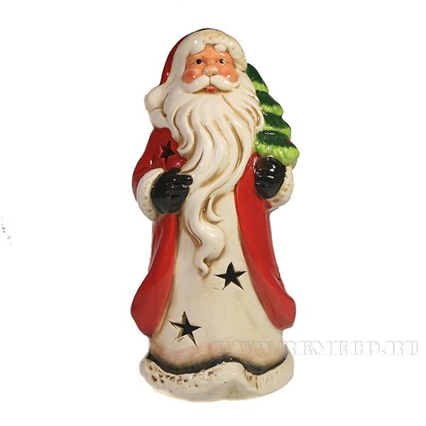 Фигура декоративная Дед Мороз с елкой на плече L11.5W10.5H21 оптом
