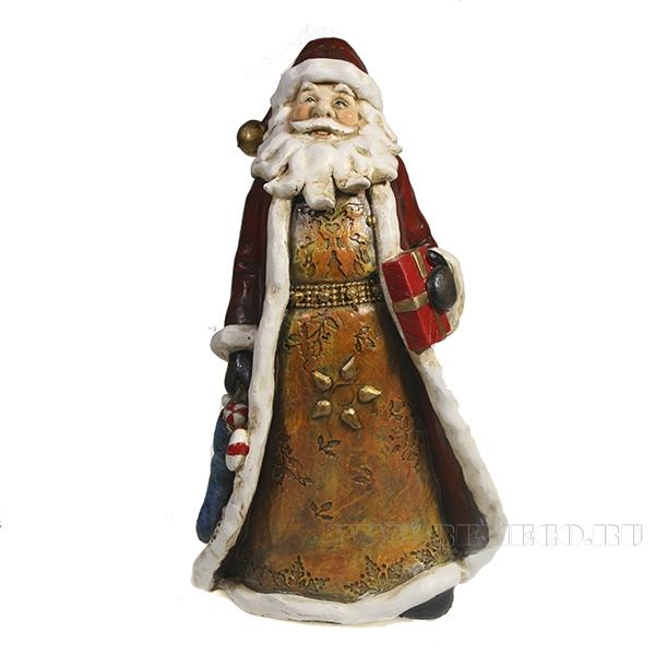 Фигура декоративная Дед Мороз с подарком L14.5W10.5H20.5 оптом