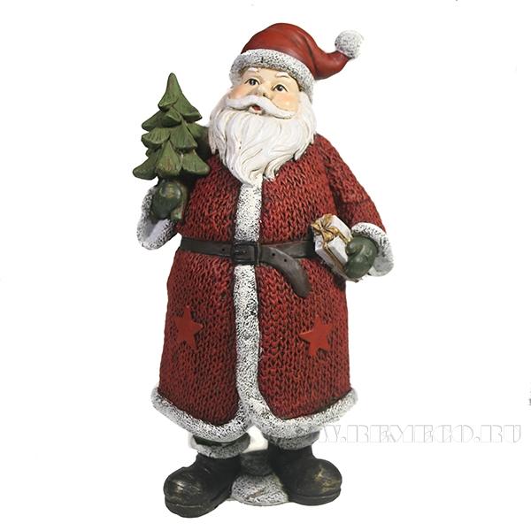 Фигура декоративная Дед Мороз с елкой и подарком (в красном)L11W10H21 оптом