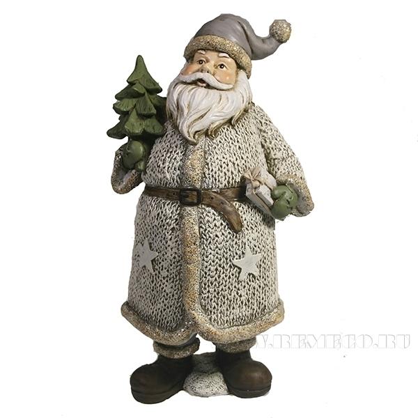 Фигура декоративная Дед Мороз с елкой и подарком (в белом)L11W10H21 оптом