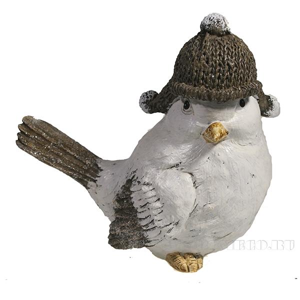 Фигура декоративная Воробей в шапке L16W9H13.5 оптом