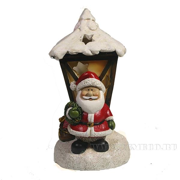 Фигурка декоративная с подсветкой Дед Мороз фонарь L9.5W10H19.5 оптом
