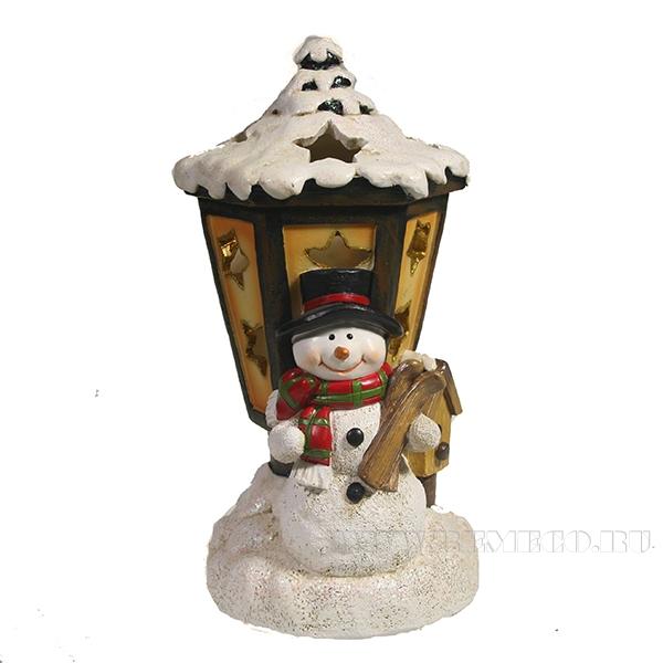 Фигурка декоративная с подсветкой Снеговик и фонарь L9.5W10H19.5 оптом