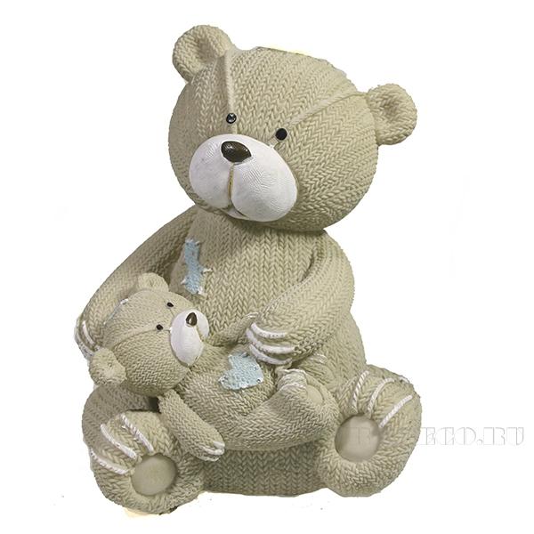 Фигура декоративная Мишка с медвеженком L12W13H15.5 оптом