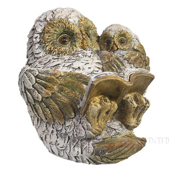 Фигура декоративная Сова и совенок (вид №3)L10.5W8.5H12 оптом