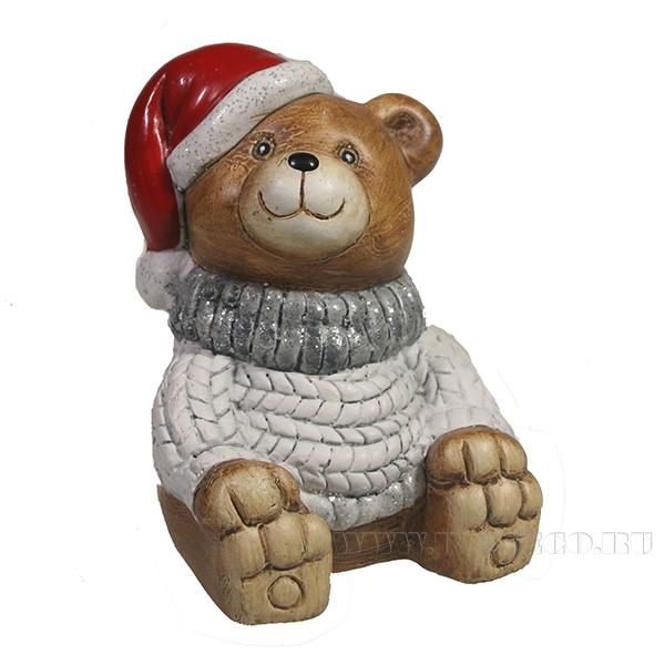Фигура декоративная Медвежонок сидит (в белом)L6W7.5H8 оптом