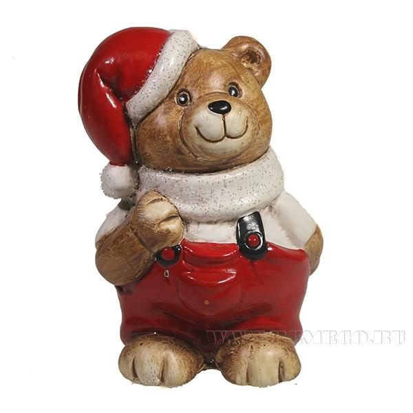 Фигура декоративная Медвежонок стоит (в белом)L8W6H8.5 оптом