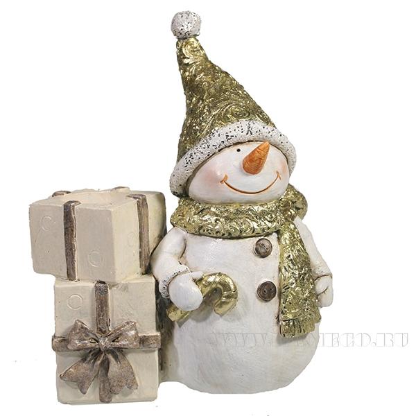 Фигурка декоративная подсвечник Снеговик (золото)L11.5W6H14 оптом