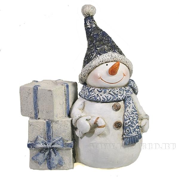 Фигурка декоративная подсвечник Снеговик (синий)L11.5W6H14 оптом