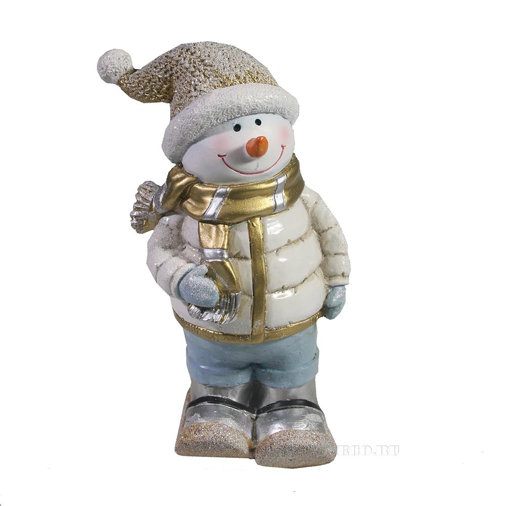 Фигурка декоративная Снеговик на лыжах (золото)L10W7.5H17.5 оптом