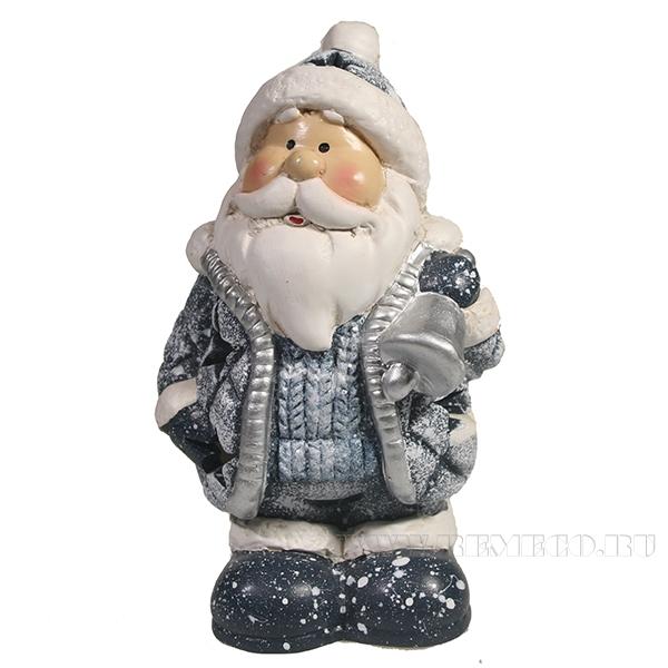 Фигура декоративная Дед Мороз с колокольчиком (синий)L8.5W7H14 оптом