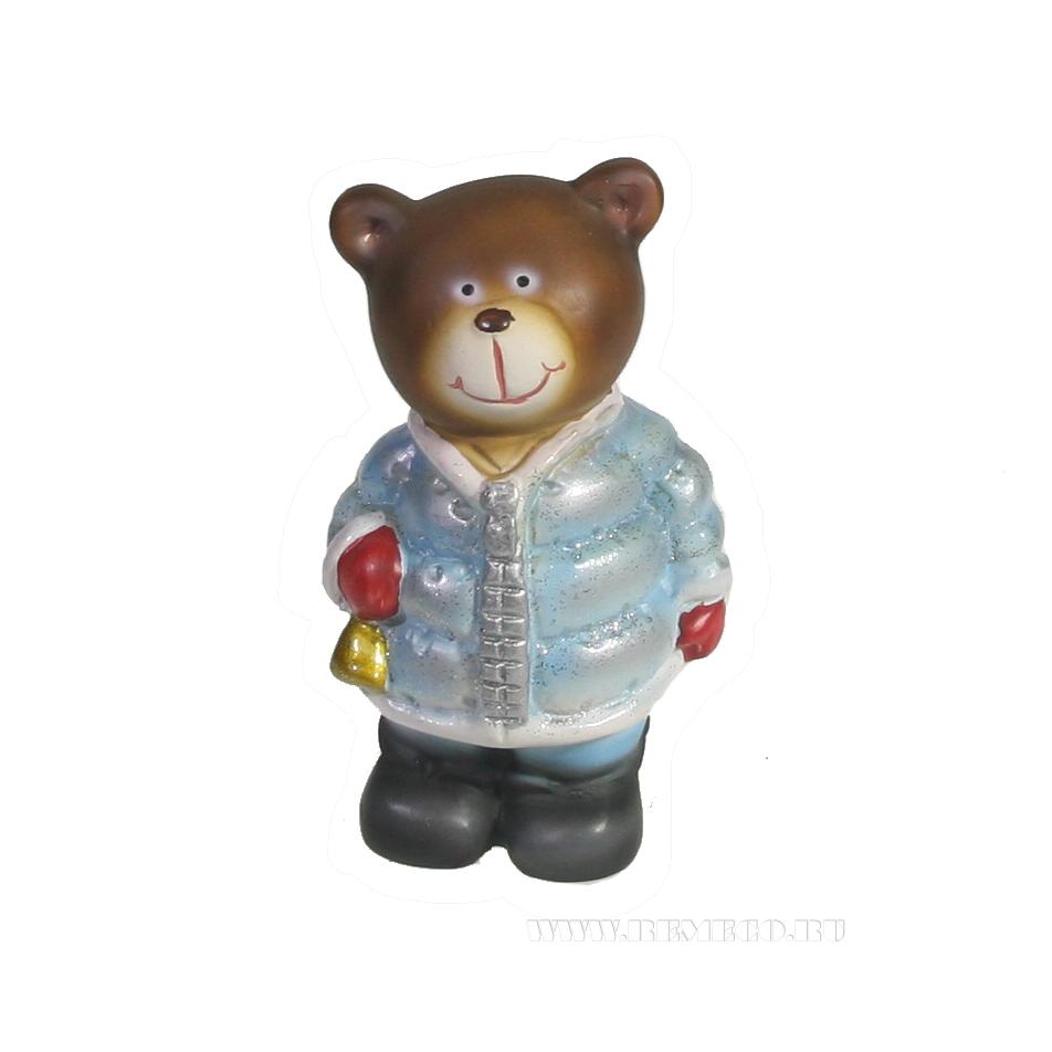 Фигура декоративная Медведь с колокольчиком (золото)L8W6.5H12 оптом
