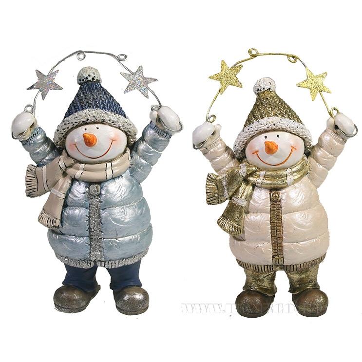 Фигура декоративная Снеговик со звездами , L9W5H13, 2в. оптом