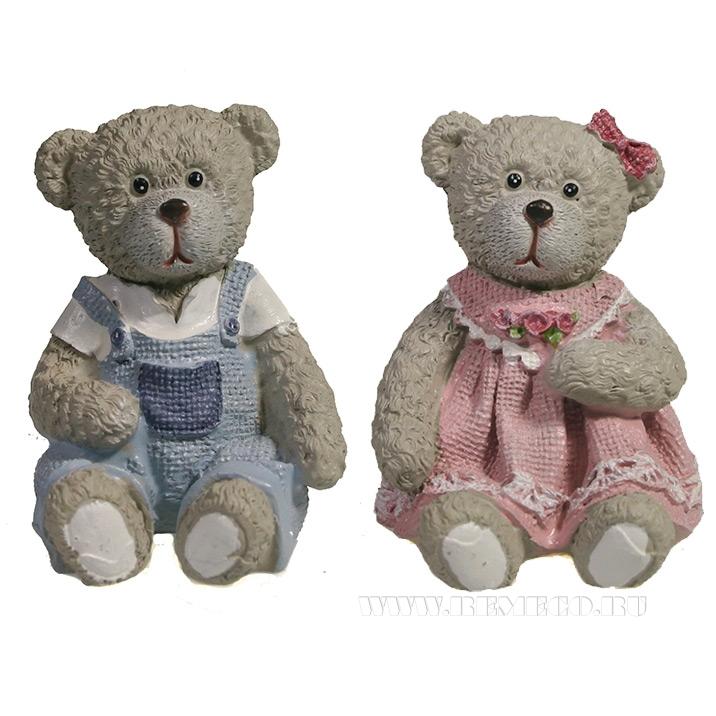 Фигура декоративная Мишка в платье , Медведь в комбинезоне , L5W5.5H5.5, 2в. оптом