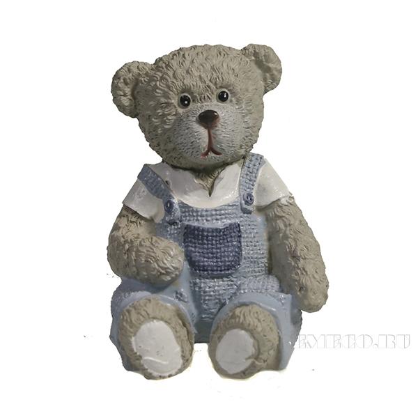 Фигура декоративная Медведь в комбинезоне вид №1 (синий)L5W5H6 оптом