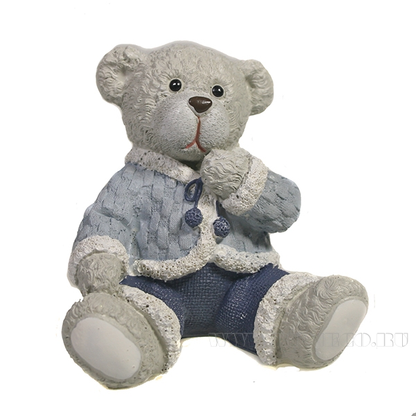Фигура декоративная Медведь вид №2 (синий)L8,5W7,5H8 оптом