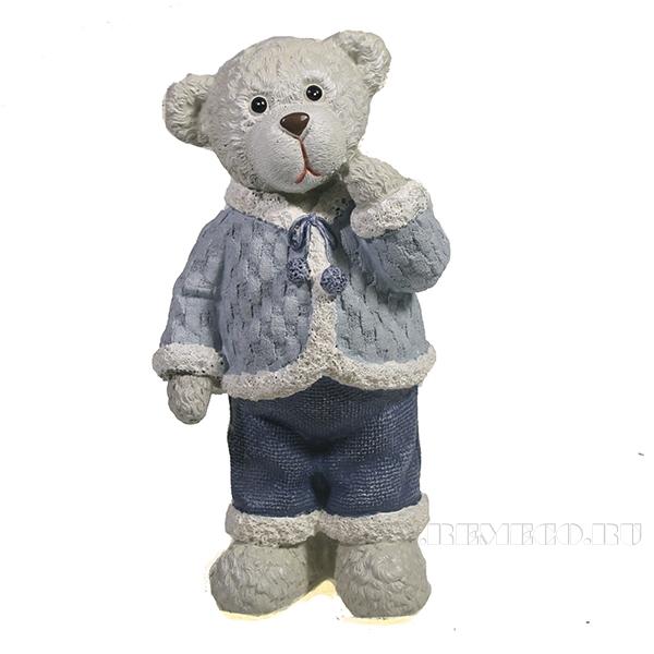 Фигура декоративная Медведь вид №3 (синий)L7W5,5H14 оптом