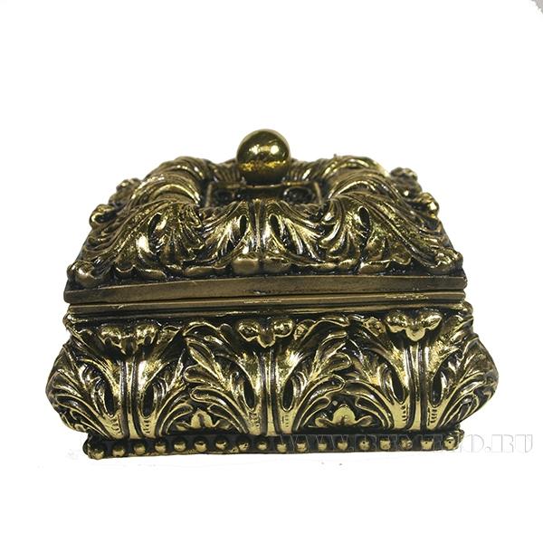 Изделие декоративное Шкатулка(цвет золото)L14.5W14.5H9.5см оптом