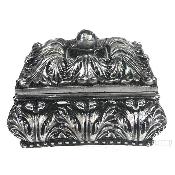 Изделие декоративное Шкатулка(цвет серебро)L14.5W14.5H9.5см оптом