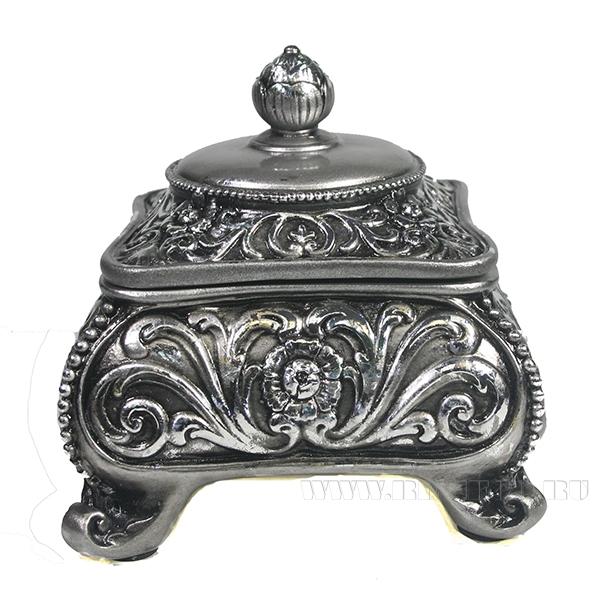 Изделие декоративное Шкатулка (цвет серебро)L13W13H13см оптом