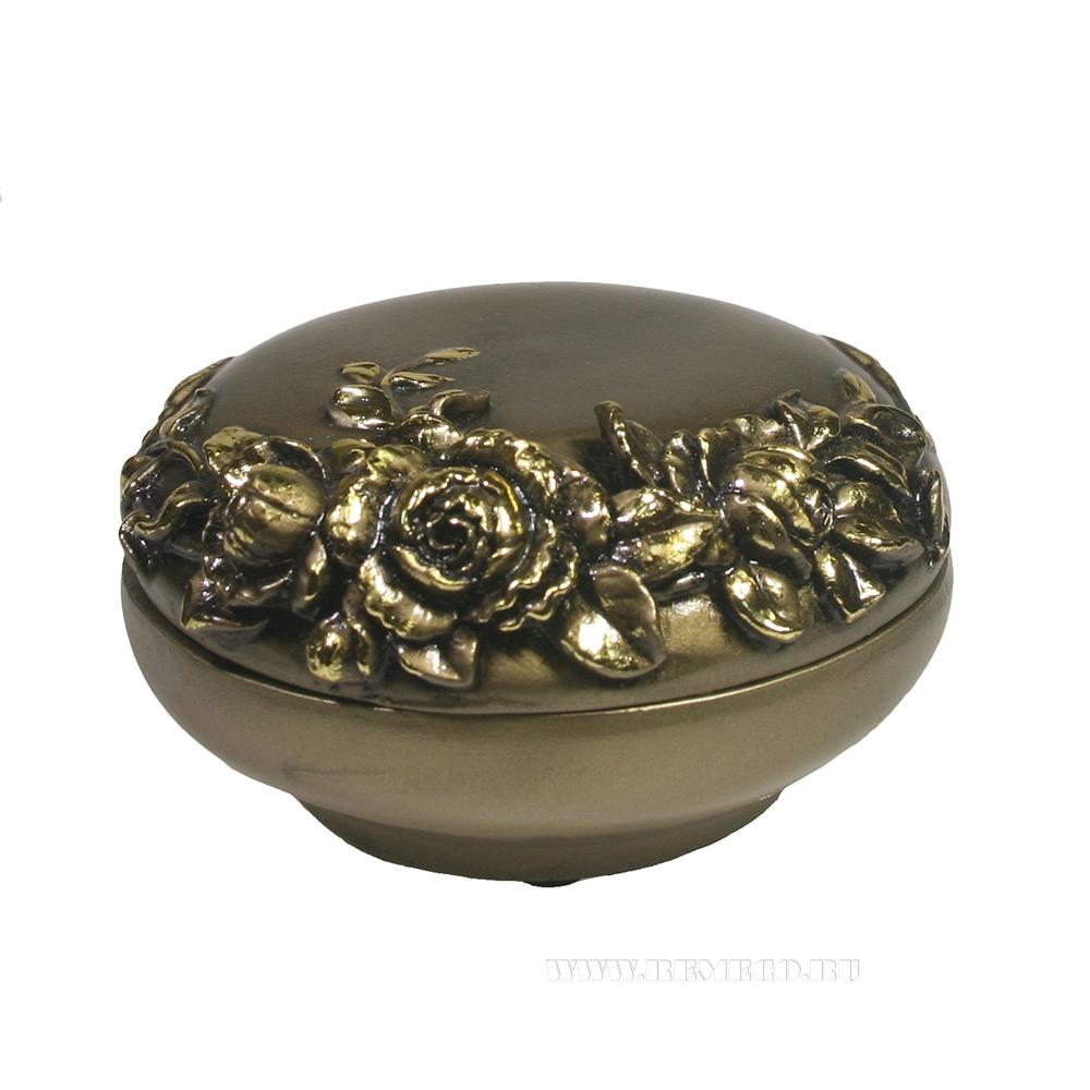Изделие декоративное Шкатулка (цвет золото)L12W12,5H7см оптом