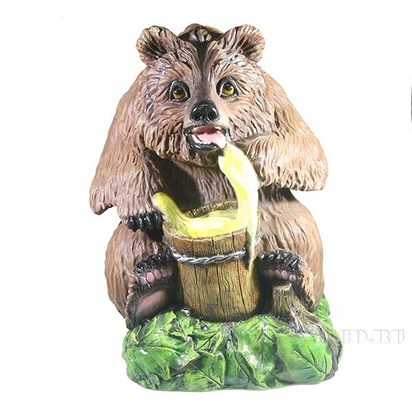 Фигура декоративная Медведь с медом большойL35W37H45см оптом