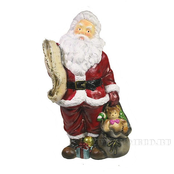 Фигура декоративная Санта со списком подарков (цвет красный)L11W13H26см оптом