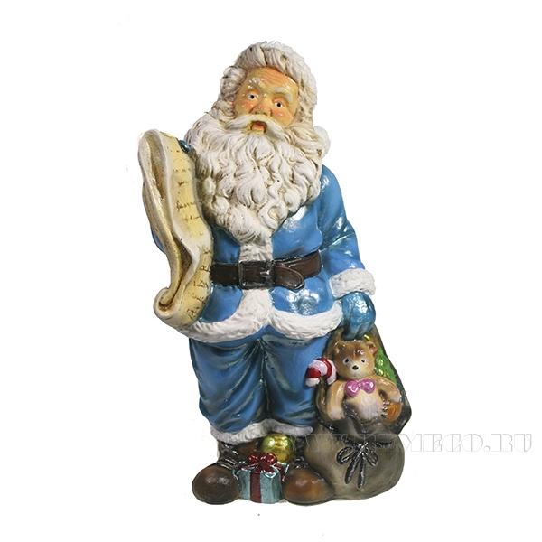 Фигура декоративная Санта со списком подарков (цвет голубой)L11W13H26см оптом