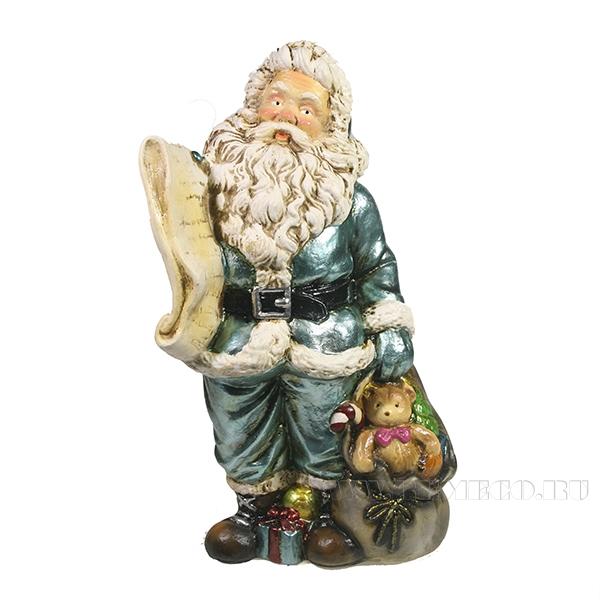Фигура декоративная Санта со списком подарков (цвет бирюзовый)L11W13H26см оптом
