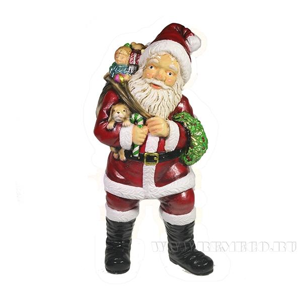 Фигура декоративная Санта держит щенка (цвет красный)L11W14H29см оптом