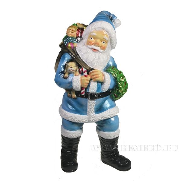 Фигура декоративная Санта держит щенка (цвет голубой)L11W14H29см оптом