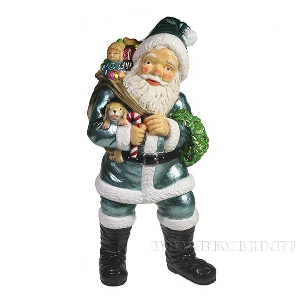Фигура декоративная Санта держит щенка (цвет бирюзовый)L11W14H29см оптом