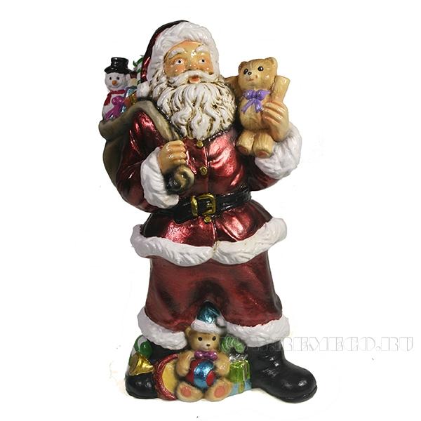Фигура декоративная Санта с игрушечным мишкой в руке (цвет красный)L10W13H25см оптом
